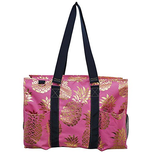 NGIL All Purpose Organizer 18' Large Utility Tote Bag 2018 Spring Collection (Gold Southern Pineapple Pink)