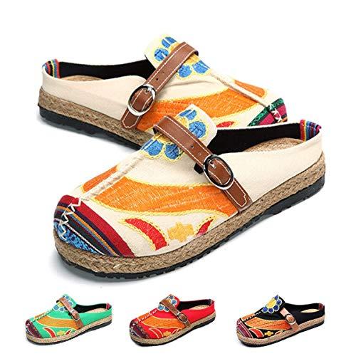 Zuecos para Mujer, Zapatos Casuales de Lona Encaje con Colores Caramelo, Arte Multicolor Pintado, Primavera Verano, Cómodas Zapatillas Antideslizantes Caminar en la Playa Beige 41 EU