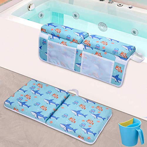 JNS Baby Bath Kneeler with a Rinse Cup - Thick Tub Kneeling Pad with Mesh Toy Storage - Knee & Elbow Rest Mats for Bathing Toddlers - No Tears Head & Hair Shampoo Rinsing Bucket with Ergonomic Handle