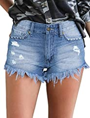 Casual summer hot denim jean pants features mid waist, frayed detailing and raw hemline. Slightly side slit. Shorts for women casual summer, fashion cute cut off shorts,zipper fly, 5 functional pockets, button closure. Women casual short pants for su...