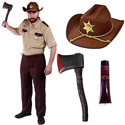 Kostüm: Zombie-Jäger, Sheriff mit Axt und Blut für Herren