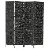SHUJUNKAIN Biombo Divisor 4 Paneles Jacinto de Agua Negro 154x160 cm Mobiliario Divisores de ambientes Negro