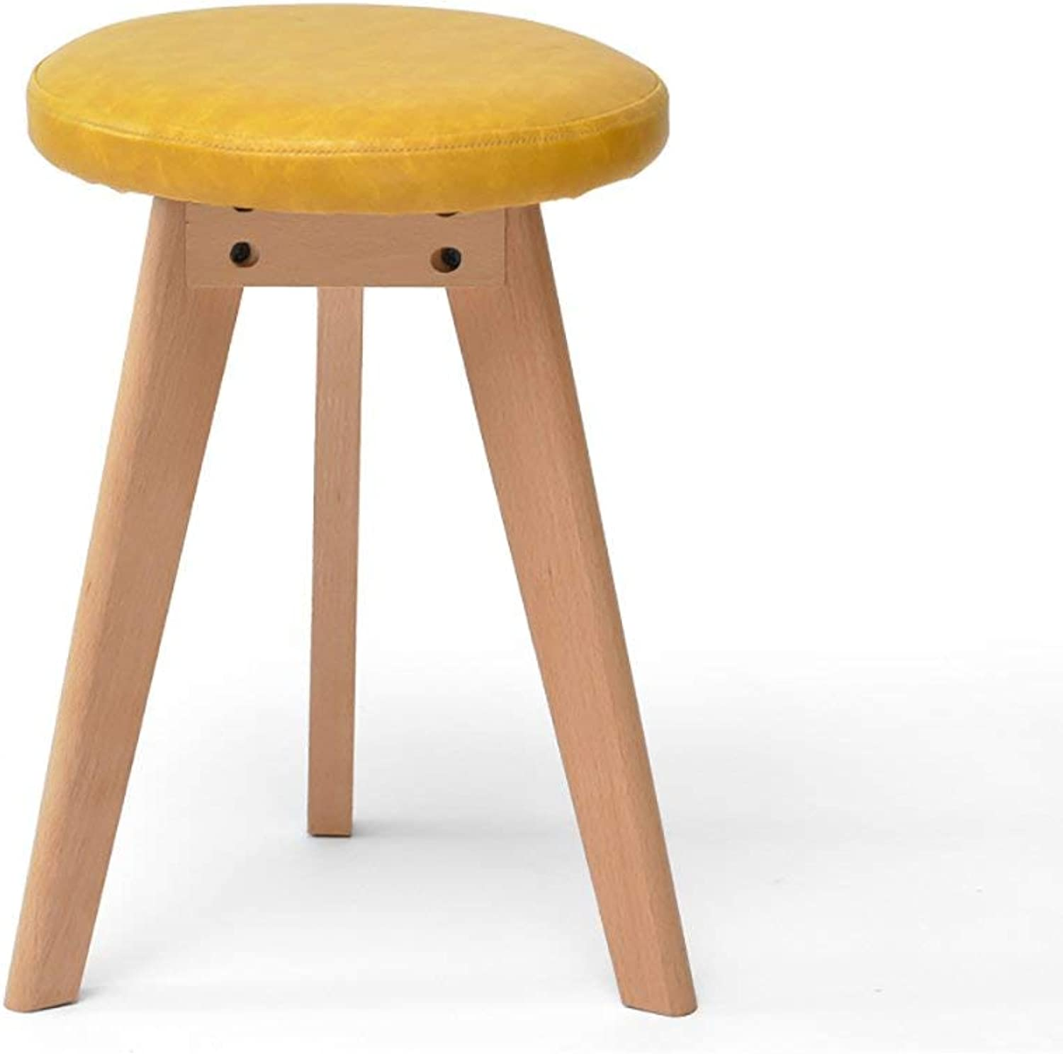 EU90 Solid wood stool fashion dressing stool creative makeup stool fabric stool dining stool - small stool (color   Yellow, Size   A set of 1)