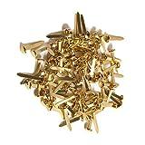 Sujetadores de papel, 100 piezas mini redondos de metal Scrapbooking Brads (dorado)
