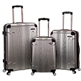 Rockland London Hardside Spinner Wheel Luggage, Silver, 3-Piece Set (20/24/28)