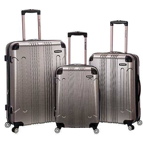 Rockland London Hardside Spinner Wheel Luggage, Silver
