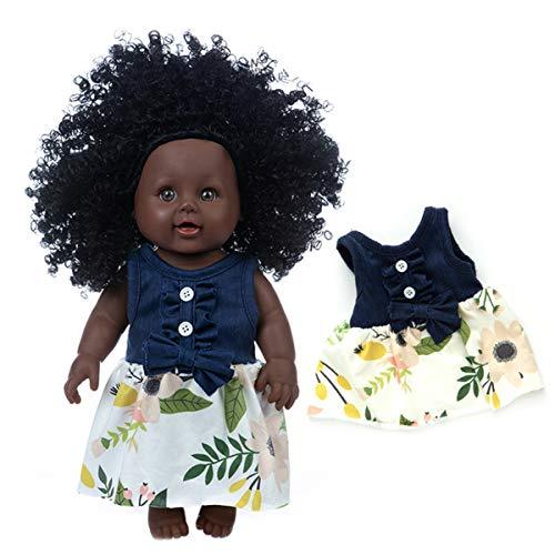 XMXWQ Reborn Baby África Dolls Realista Bebés Suave Silicona Vinilo Cosplay Realista Ojos Cerrados Muñeca Juguete Recién Nacido Regalo,E