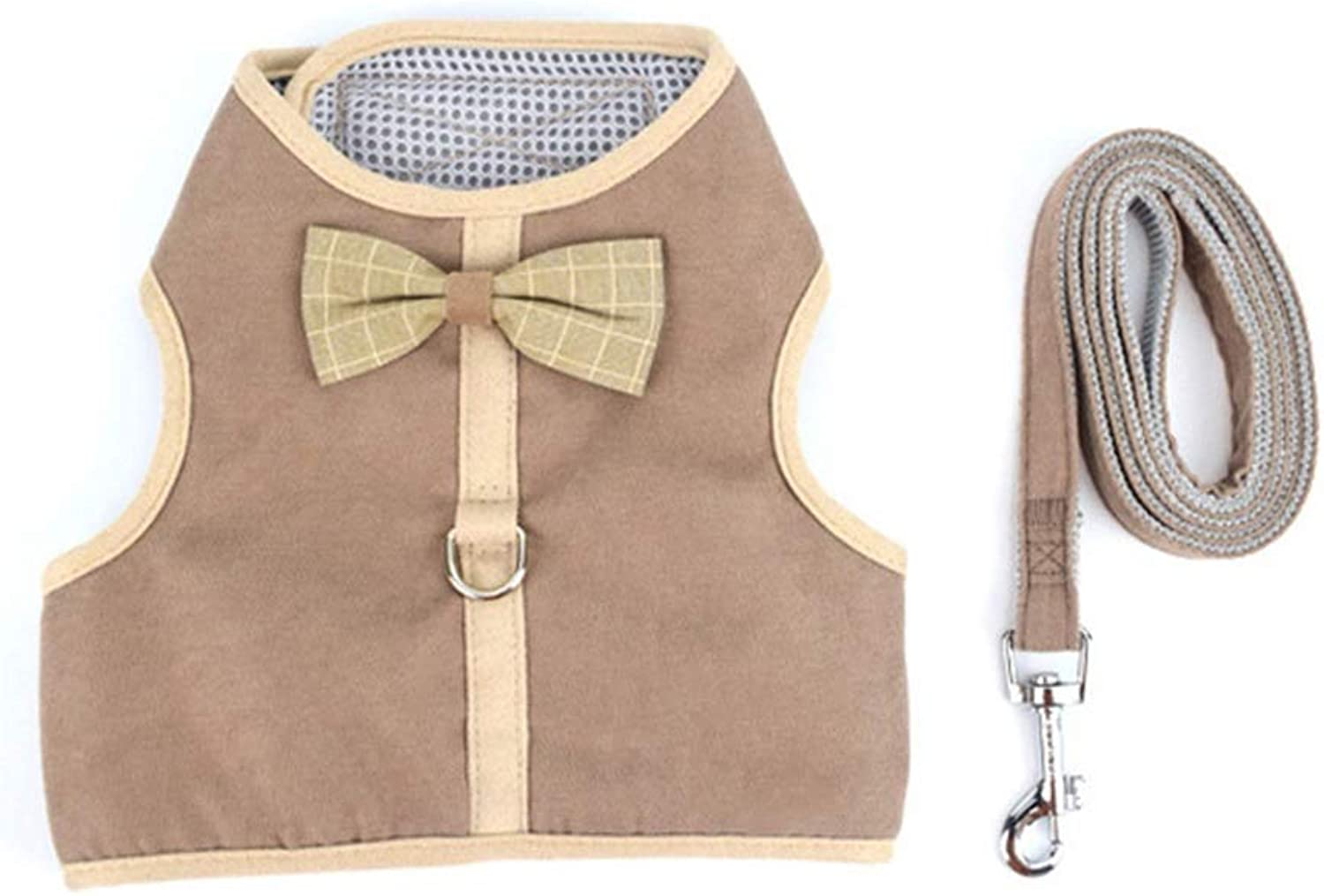 Dog Vest Harness, Chest Strap with Rope Training Or Walking Traction Chain Suitable for Puppy Teddy Cat Collars Leash Safety Buffer Harness (color   Coffee, Size   S)