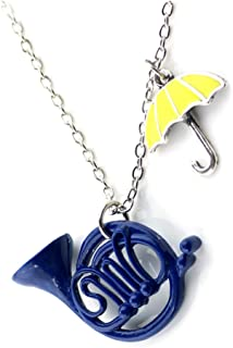 Blue French Horn Yellow Umbrella Pendant Charm Chain Necklace - Metal