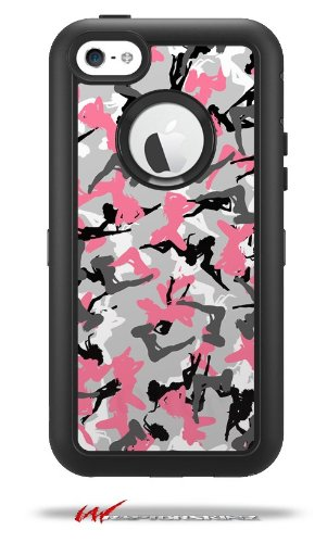 Sexy Girl Silhouette Camo Pink - Decal Style Vinyl Skin fits Otterbox Defender iPhone 5C Case (CASE SOLD SEPARATELY)