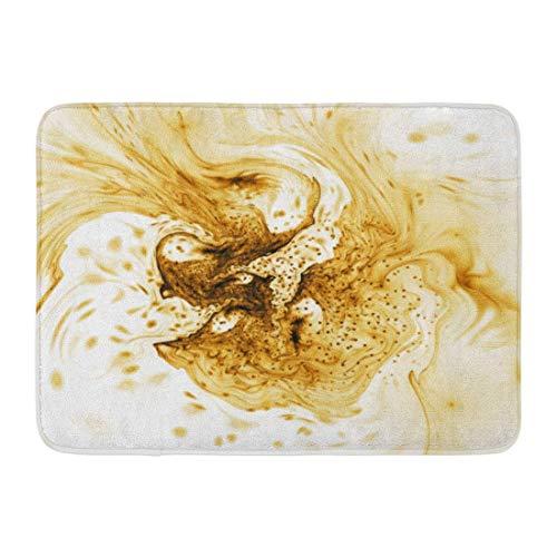 Fußmatten Badteppiche Outdoor/Indoor Fußmatte Braun Gold Abstrakt Gelb Splash on Fantasy Fraktal 3D Rendering Buntes Wasser Badezimmer Dekor Teppich Badteppich
