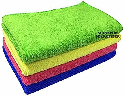Softspun Microfiber Ultra Fast Drying, Car Dusting And Cleaning Towel Cloth - 20X30Cms - Set Of 4 - Multicolor