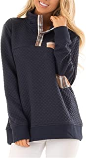 Women's Button Neck Quilted Pullover Sweatshirts Patchwork Elbow Patches Tops Outwear