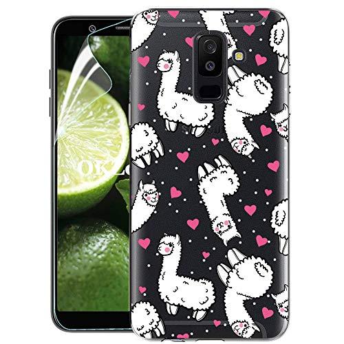 OKZone Galaxy A6 Plus 2018 Hülle mit HD-Schutzfolie, Silikon Durchsichtige Handyhülle Ultradünne stoßfest Schutzhülle Handytasche Cover weiche Case für Samsung Galaxy A6 Plus 2018 (Pferd)