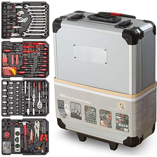 Werkzeugkoffer Optimus 1050-Teilig - Universal Werkzeugset - Aluminium Profi Werkzeugtrolley - Werkzeugkiste gefüllt - Werkzeugaufbewahrung für Heimwerker