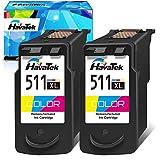HavaTek Remanufacturados 511 XL TriColor Cartuchos de tinta para Canon CL-511 XL para Pixma MP495 MP250 MP270 MP280 MP480 MP490 MP492 MP499 MP230 iP2700 iP2702 MX320 MX350 MP240 Impresoras(2 Paquet)
