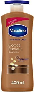 Vaseline Body Lotion Cocoa Radiant with Cocoa butter, non-greasy formula, restores glow to dull, dry skin, 400ml