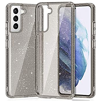 XNMOA Glitter Clear Case Compatible with Samsung Galaxy S21+ 6.7  Transparent Reinforced Corners TPU Shock-Absorption Flexible Cell Phone Cover for Samsung Galaxy S21 Plus 5G,Black