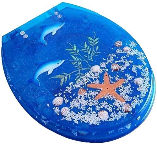 Qivor Antideslizante WC Tapa, T/V/S reemplazable Superior de Asiento de Inodoro Ajustable Bisagra WC Cubierta for el baño de la Familia Azul fácil de Limpiar (Color : Blue, Size : A)