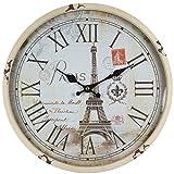 Reloj de pared de metal lacado con esfera de cristal y diseño vintage de Perla PD DesignDiámetro: 30cm., metal, Torre Eifel