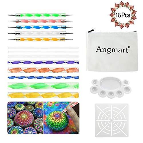 Angshop 16-teiliges Dotting-Tools-Kit für Mandala-Steinmalerei, Malen und Zeichnen, Kinder-Handwerk, Nagelkunst, Malerei
