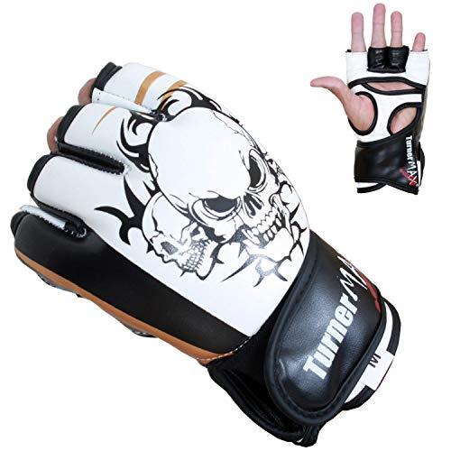 TurnerMAX ofrece nuevos y elegantes guantes de cuero sintético MMA con acolchado adicional en los dedos para un uso cómodo. El fuerte cierre de velcro hace que sea más fácil de llevar y quitar los guantes. Adecuado para MMA, torneos como UFC y otras ...