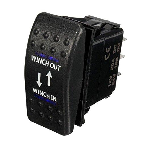 Mintice™ de 12V 20A LED azul interruptor de palanca basculante luz 7 Pines momentáneo Winch in out