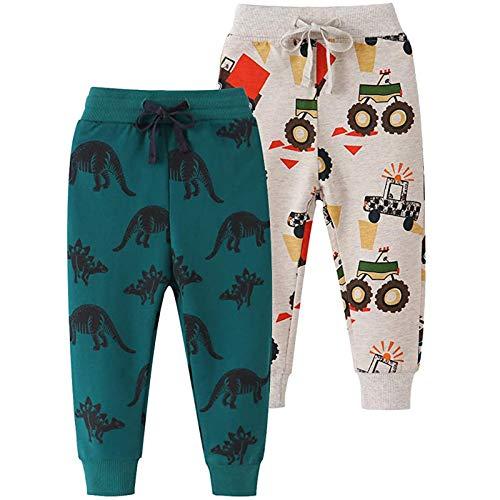 Yvelands 2er Pack Kinder Jogginghose Jungen Baumwolle Sweathose Dinosaurier Karikatur Gedruckt Hosen Sporthose Jogger Pants 1-7 Jahre (104, 1-1)