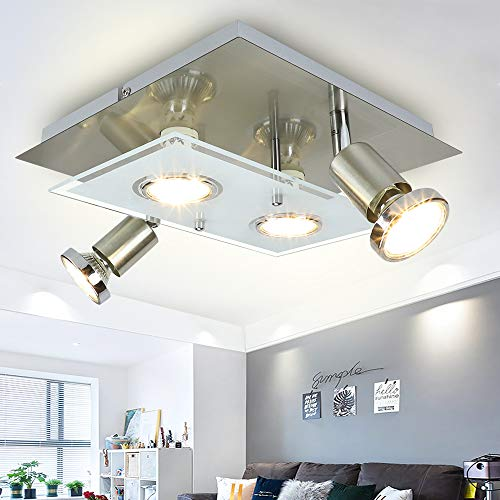 Depuley LED Deckenstrahler Schwenkbar Wohnzimmer, 4 Flammig LED Deckenleuchte, 4x3W GU10 LED Leuchtmittel, Modern LED Deckenspot, 960LM 3000K Warmweiß, Deckenlampe für Küche Schlafzimmer