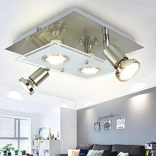 Depuley LED Deckenstrahler Schwenkbar Wohnzimmer, 4 Flammig LED Deckenleuchte, 4x5W GU10 LED Leuchtmittel, Modern LED Deckenspot, 1600LM 3000K Warmweiß, Deckenlampe für Küche Schlafzimmer
