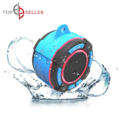 Worlds Best Waterproof Bluetooth Suction Speaker - IPX7 Portable Wireless Speaker with LED Display, FM Radio, Suction Cup, Light Show, Extra Bass Stereo Sound for All Indoors and Outdoors Activities
