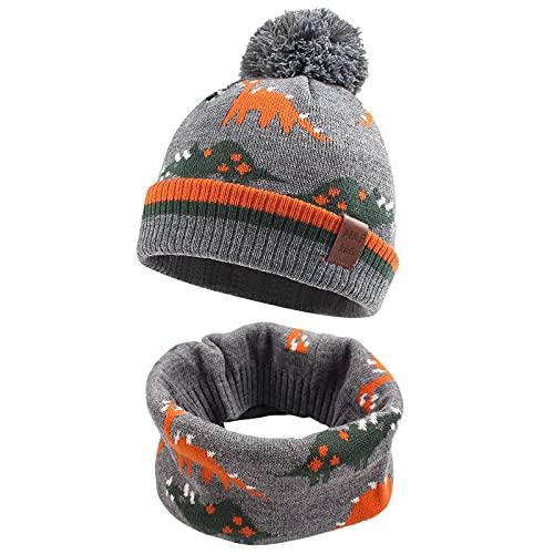 Bebé Invierno 2 Piezas Conjunto de Gorra y Bufanda Lana Pañuelo de Punto con Pompones para Niños Unisex Sombrero de Invierno Bufanda para Niños Gorro(Gris)