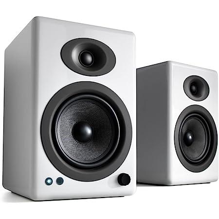 Audioengine A5+ 150W Altavoces Activos de Estantería Inalámbricos   Amplificador Analógico Incorporado   aptX HD Bluetooth 24 bit DAC, RCA y Entradas de 3.5mm   Control Remoto de Aluminio Sólido