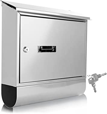 Serene Life Modern Wall Mount Lockable Mailbox Outdoor Galvanized Metal Key Large Capacity Commercial Rural Home Decorative & Office Business Parcel Box Packages Drop Slot Secure Lock (Metallic White)