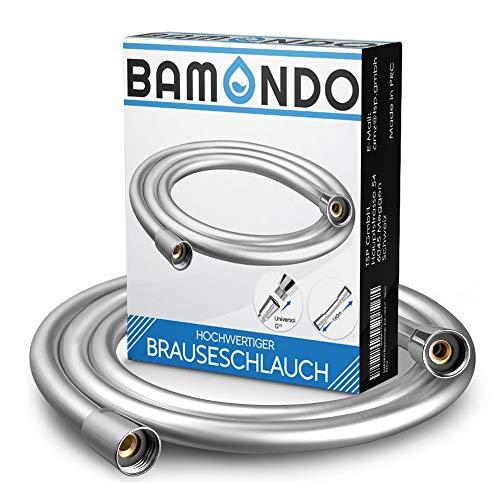 BAMONDO Brauseschlauch 160cm mit doppeltem Verdrehschutz. Duschschlauch extrem flexibel, verdrehsicher, mit Knickschutz. Kunststoffschlauch mit Drehwirbel in Edelstahl-Optik.
