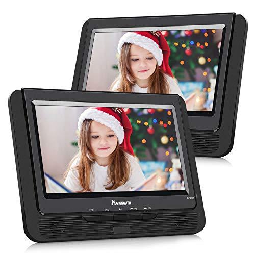 """NAVISKAUTO 9\"""" DVD Player für Auto Tragbarer DVD Player mit zusätzlichem Bildschirm 5 Stdn. Akku SD/USB AV IN/Out"""