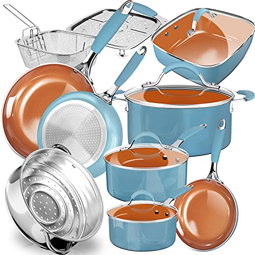 DF Pure Silicone Soft Grip Healthy Ceramic Non-stick Cookware Pots and Pans Set,Induction Kitchenware Set,Durable Delicious Coating,14-Piece, Dishwasher&Oven Safe,Turquoise/Copper, Father's Day Gift
