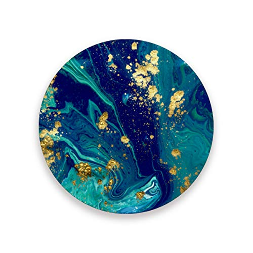 STAYTOP Marble Absorbent Coasters for Drinks, Dark Blue Green Gold Marble Texture Tabletop Protection Mat, Round Ceramic Stone Coaster with Cork Base, No Holder, 4PCS