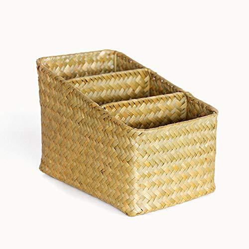 B/H Cubos de Tela Cajas Organizadoras,Canasta de Almacenamiento de Mimbre para clasificar escombros, Canasta de Almacenamiento de Paja-Amarillo