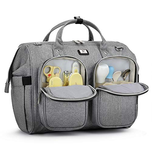 Pomelo Best Bolso Cambiador Bebé de Pañales | bolso carro gemelar | Impermeable |Gran Capacidad y Multibolsillo| Diseño universal,con 2 Ganchos Carrito de Bebé y Cambiador portatil de pañales(Gris1)