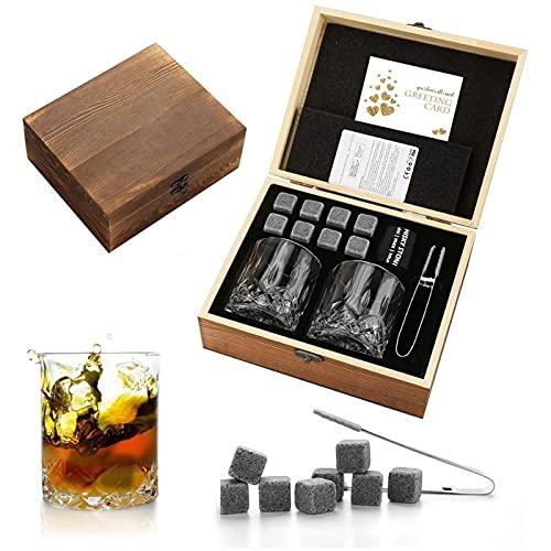 Set De Regalo De Piedras para Whisky Rocas De Whisky De Granito para Enfriar Vasos De Cristal para Whisky Los Mejores Regalos para Hombres Papá