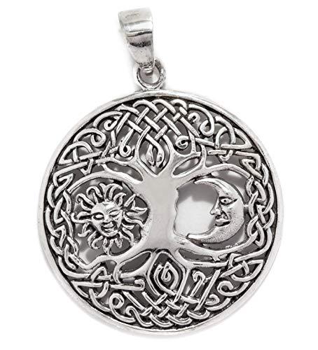 Windalf Keltischer Schmuck Anhänger BARA Ø 3 cm Lebens-Baum mit Sonne & Mond Bohemia Silber-Amulett Glücksbringer 925 Sterlingsilber