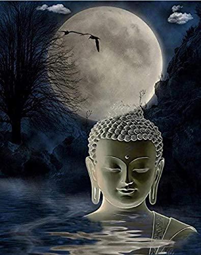 Pintar por Numeros Decoraciones para el Hogar Buda de la luna Pintar por Numeros Adultos Niños DIY Pintura por Números con Pinceles y Pinturas 40 x 50 cm