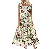 TUSANG Women Skirt Plus Size Bohemian O-Neck Floral Print Vintage Sleeveless Long Maxi Dress Slim Fit Comfy Dress(B-White,US-10/CN-XL)