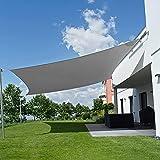 Seedforce Tenda a Vela 4 x 5 m Rettangolare, Telo Ombreggiante Impermeabile, Tenda Parasole, Telo da Sole in Polyster Oxford, Anti-Raggi UV Telo per Gazebo, Giardino, Balcone, con Borsa, Grigio