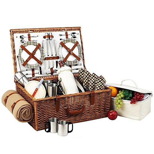 Picnic at Ascot Dorset Picknickkorb aus Weidenholz im englischen Stil, mit Service für 4 Personen, Kaffeeservice und Decke, in den USA entworfen, montiert und qualitätsgeprüft