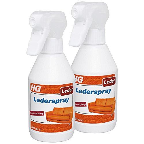 HG Lederspray 2er Pack (2x 300ml) – Pflegt und Reinigt Leder Schnell und Einfach - In Einer Behandlung