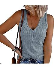 ESTYLE Vrouwen Tank Tops Zomer Mouwloze Vesten Henley V-hals Wafel Gebreide Button Up Shirts Losse Blouses