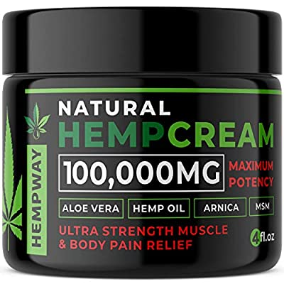 100% Natural Hemp Cream for Pain Relief - 100,000mg Arthritis Pain Relief Cream - Hemp Oil for Pain Relief & Joint Pain Relief - Doctor Formulated Pain Cream - Hemp Lotion for Pain Relief from Hempway