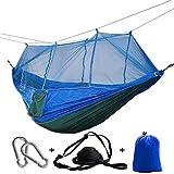 GUHSX 1-2 Personas Mosquitera al Aire Libre Hamaca paracaídas Colgante Cama para Dormir Columpio Medias GrandesRed Azul Azul